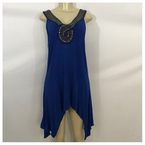 Blue Beaded Sleeveless Mini Dress